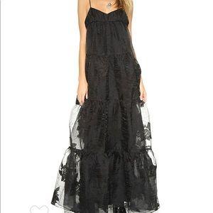 Free People Black Rose Tulle Maxi Dress